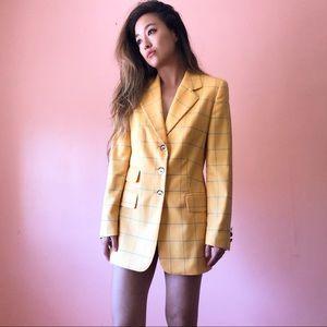 Vintage Escada Yellow Checkered Cashmere Blazer